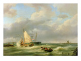 Estuary with Fishing Vessel and Rowing Boat Giclee Print by Hermanus Koekkoek