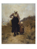 Mother and Child on a Path by the Sea Giclee Print by Bernardus Johannes Blommers