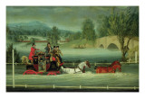 A Royal Mail Coach on a Flooded Road Giclee Print by James Pollard
