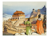 Building the Great Wall of China Giclee Print by Mcbride