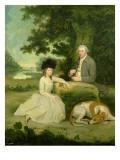 Portrait of Mr Leroy with His Daughter Reproduction procédé giclée par Hugh Barron