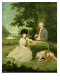 Portrait of Mr Leroy with His Daughter Giclee Print by Hugh Barron