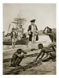 Captain Cook Landing in Tasmania, 1777 Giclee Print by Richard Caton Woodville II
