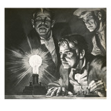 Edison's Experimentation with Light Bulbs Giclee Print by  English School