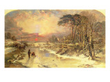 Winter Scene on the Thames, 1846 Premium Giclee Print by Charles Branwhite