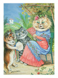 Mother Cat with Fan and Two Kittens Giclee Print by Louis Wain