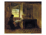 Interior of a Farmhouse, Maine, 1865 Reproduction proc&#233;d&#233; gicl&#233;e par Eastman Johnson