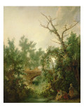 Peasant Woman Washing Clothes Near a Bridge Giclee Print by Jean-Baptiste Huet