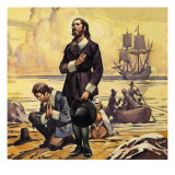 Pilgrim Fathers Arriving in America Giclee Print by  English School