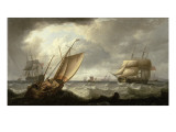Dutch Galliot and English Shipping Off Penzance Giclee Print by Powell