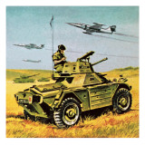Soldier with Armoured Car and Jets Giclee Print by  Escott