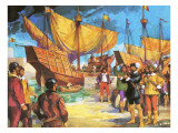 Pizarro Setting Sail from Panama in 1530 Giclee Print by Alberto Salinas