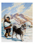 Arctic Dog with a Young Eskimo Giclee Print by  Tansley
