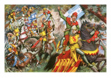 Robin Hood Attacking Norman Soldiers Giclee Print by  English School