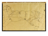 Young Woman Lying on Her Back, 1915 Giclee-vedos tekijänä Schiele