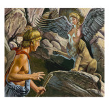 Oedipus Encountering the Sphinx Giclee Print by  Payne