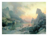 Penguins in an Arctic Landscape at Dusk Giclee Print by Hermann Herzog
