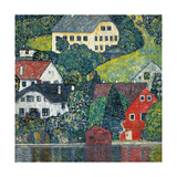 Houses at Unterach on the Attersee, C.1916 Reproduction procédé giclée par Gustav Klimt