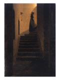 Caroline on the Stairs, 1825 Premium Giclee Print by Caspar David Friedrich