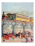 New York Elevated Railway, C.1880 Reproduction procédé giclée par American School