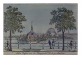 The Pool and French Church in Potsdam, C.1796 Reproduction proc&#233;d&#233; gicl&#233;e par Johann Friedrich Nagel