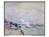 The Seine at Grenelle, Wet Weather, 1878 Giclee Print by Alfred Sisley