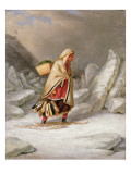 An Indian Woman Wearing Snowshoes Giclee Print by Cornelius Krieghoff