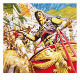 Ben-Hur Racing a Chariot in Ancient Rome Giclee Print by C.l. Doughty