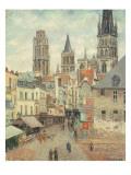 Rue De L'Epicerie at Rouen, on a Grey Morning, 1898 Reproduction procédé giclée par Camille Pissarro