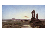 A Bedouin Encampment by a Ruined Temple Giclee Print by Alexandre Gabriel Decamps