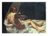 Young Man Lying on a Bed with a Cat, 1620 Giclee Print by Giovanni Lanfranco