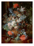 Bouquet of Flowers in a Landscape Giclee Print by Jan van Huysum