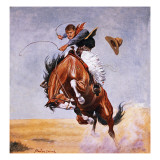 Cowboy Trying to Break in a Horse Giclee Print by Stanley L. Wood