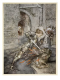 How Sir Lancelot Faught with a Friendly Dragon Wydruk giclee autor Arthur Rackham