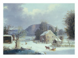 New England Farm by a Winter Road, 1854 Giclee Print by George Henry Durrie