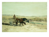 An Ox Cart in New Mexico Giclee Print by Charles Partridge Adams
