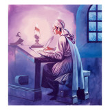Girl Writing a Letter Giclee Print by Ron Embleton