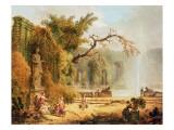 Romantic Garden Scene Giclée-Druck von Hubert Robert
