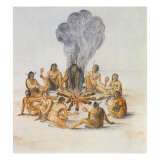 Indians Round a Fire Reproduction proc&#233;d&#233; gicl&#233;e par John White