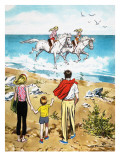 Horse Riding in the Surf Giclee Print by Jesus Blasco