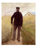 Old Man Walking in a Rye Field Giclee Print by Laurits Andersen Ring