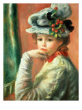 Young Girl in a White Hat Reproduction proc&#233;d&#233; gicl&#233;e par Pierre-Auguste Renoir
