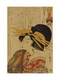 A Courtesan Raising Her Sleeve Giclee Print by  Utamaro Kitagawa