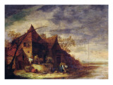 Woman in Front of a Cottage Giclee Print by Egbert van der Poel