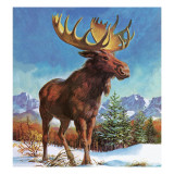 Alaska's Mighty Moose Giclee Print by English School