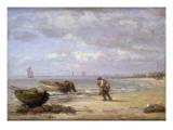 Low Tide Near Honfleur Premium Giclee Print by Eugène Boudin