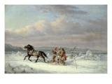 Huntsmen in Horsedrawn Sleigh Giclee Print by Cornelius Krieghoff
