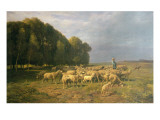 Flock of Sheep in a Landscape Giclee Print by Charles Emile Jacque