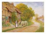 Outside the Village Inn Giclee Print by Arthur Claude Strachan