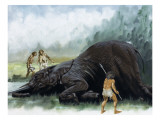Pre-Historic Hunters Giclee Print by David Nockels